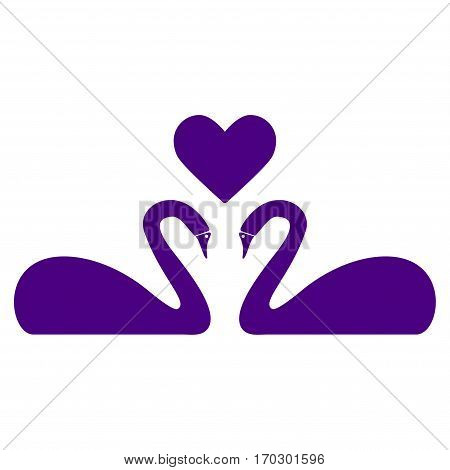 Love Swans vector icon symbol. Flat pictogram designed with indigo blue and isolated on a white background.