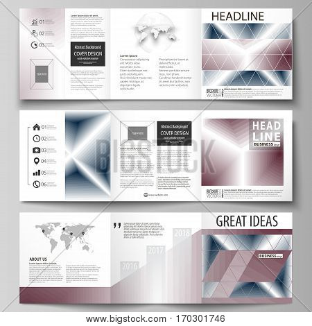 Set of business templates for tri fold square design brochures. Leaflet cover, abstract flat layout, easy editable vector. Simple monochrome geometric pattern. Abstract polygonal style, stylish modern background.