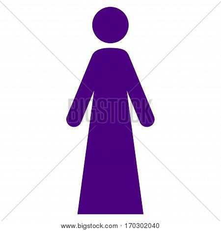 Woman vector icon symbol. Flat pictogram designed with indigo blue and isolated on a white background.