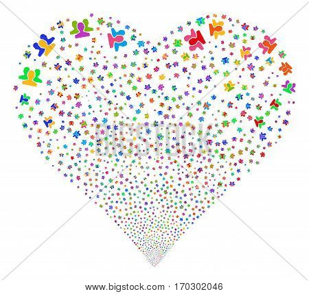 Users fireworks with heart shape. Vector illustration style is flat bright multicolored iconic symbols on a white background. Object heart organized from random pictograms.