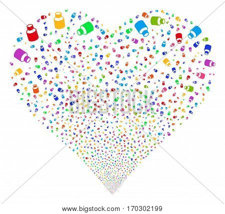 Vial fireworks with heart shape. Vector illustration style is flat bright multicolored iconic symbols on a white background. Object valentine heart done from random pictograms.