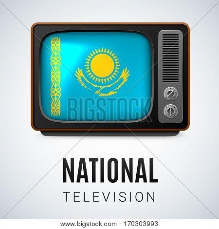 Vintage TV and Flag of Kazakhstan as Symbol National Television. Tele Receiver with Kazakh flag