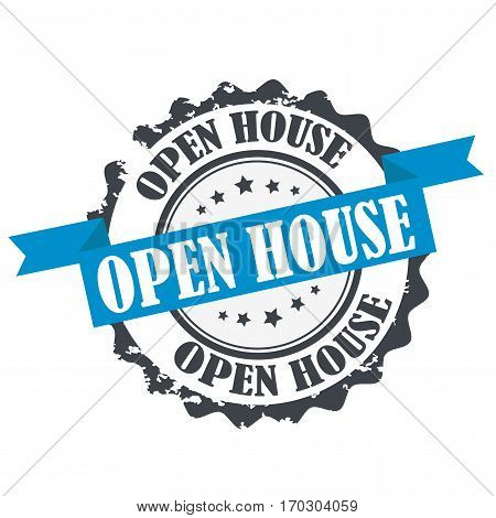 Open House stamp.Sign.Logo design illustration isolated on white. Vector design