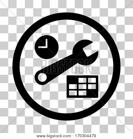 Date And Time Setup rounded icon. Vector illustration style is a flat iconic symbol inside a circle black color transparent background. Designed for web and software interfaces.