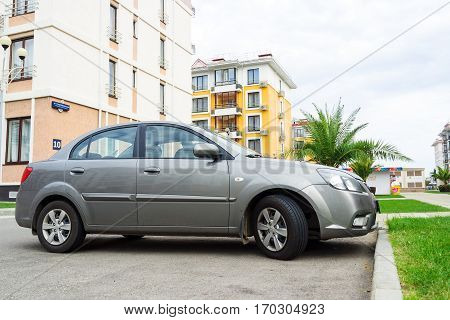 Sochi, Russia - October 11, 2016: Kia Rio parked on the street of Sochi City.