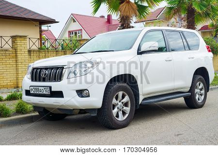 Sochi, Russia - October 11, 2016: New luxury japanese auto Toyota Land Cruiser parked on the street of Sochi City.