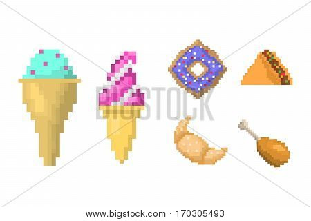 Set of pixel icons sweet sign. Fast food computer design symbol retro game web graphic. Vector illustration restaurant pixelated element.