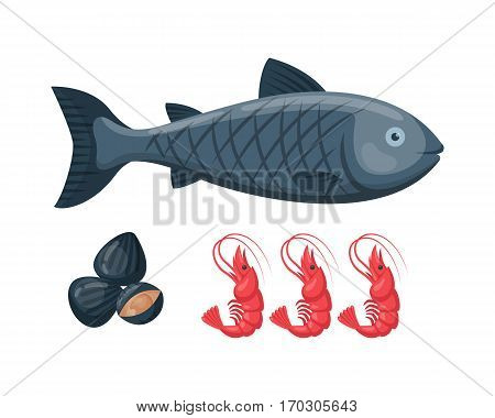 Vector illustration for artwork codfish in small sizes. Suitable for graphic and packaging design, educational examples, web, etc. Roasted fresh aquaculture dinner.