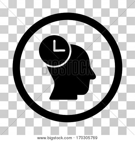 Time Thinking rounded icon. Vector illustration style is a flat iconic symbol inside a circle black color transparent background. Designed for web and software interfaces.