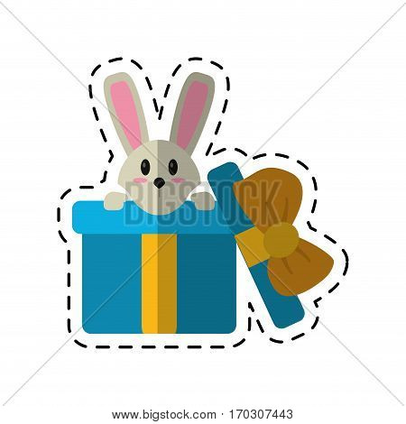 cartoon cute rabbit hiding gift box surprise vector illustration eps 10