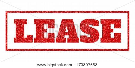 Red rubber seal stamp with Lease text. Vector caption inside rectangular banner. Grunge design and dust texture for watermark labels. Scratched sign.