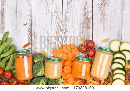 Vegetable soups in jars for a baby