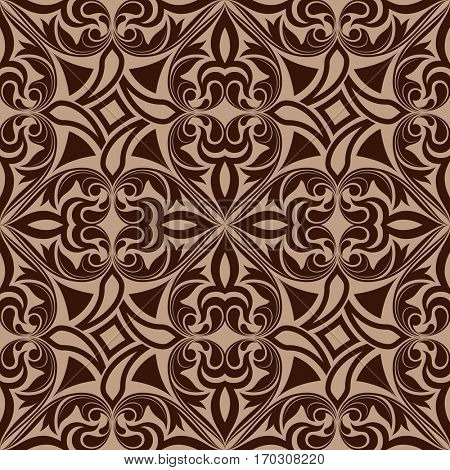 Seamless brown abstract ornamental pattern.