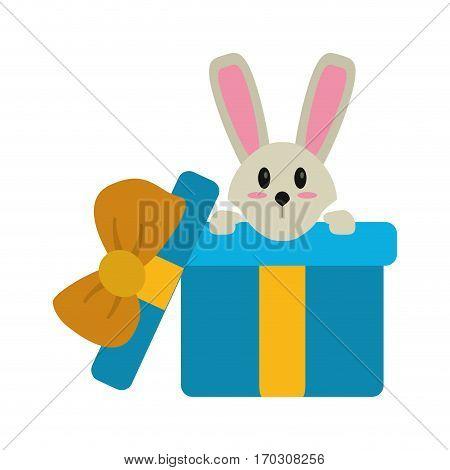 cute rabbit hiding gift box surprise vector illustration eps 10