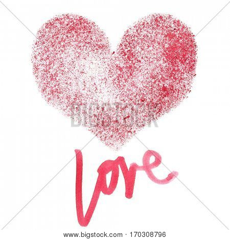 Love - Stencil red heart isolated on a white background - raster illustration