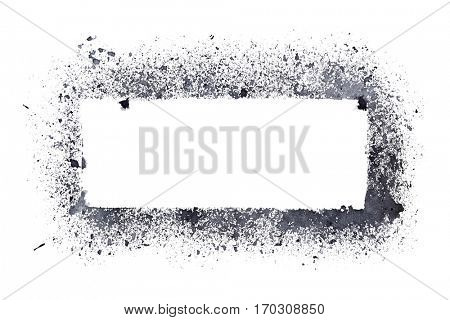 Rough stencil frame isolated on the white background