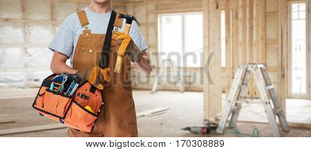 Construction worker with hammer.