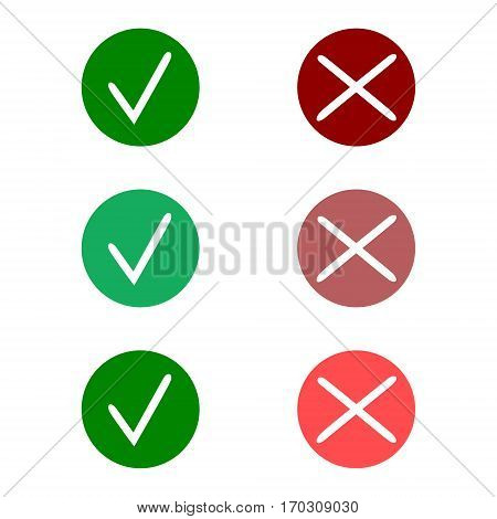 Tick icon set. Stylish check mark icon set in green and red color, vector illustration.
