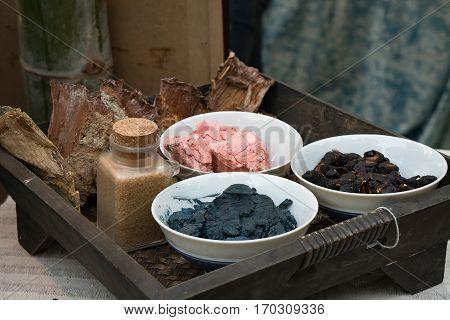 Basket of traditional indigo dye pigment ingredients