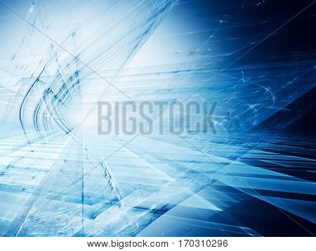 Abstract background element. Three-dimensional composition of glowing grids and wave shapes. Science and technology concept. Blue colors.