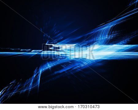 Abstract background element. Fractal graphics. Three-dimensional dynamic composition of glowing artifacts. Blue on black colors.