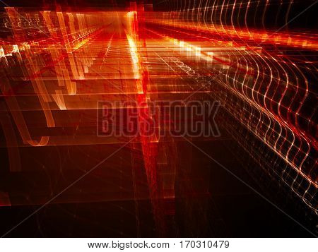 Abstract background element. Fractal graphics. Three-dimensional composition of glowing grids and wave forms. Information technology or science concept. Red and black colors.