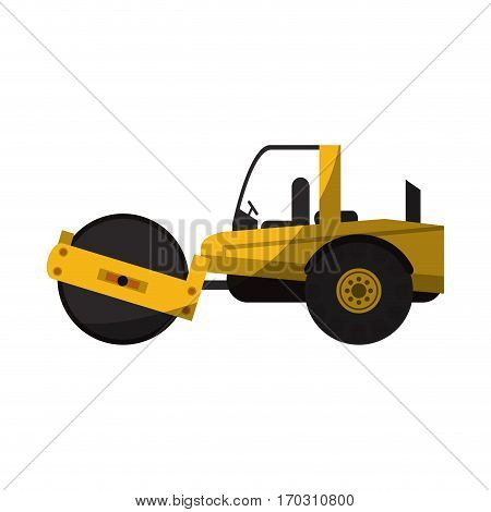 construction road roller truck icon over white background. colorful design. vector illustration