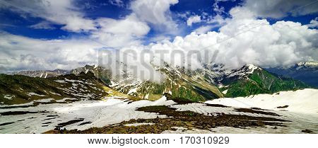Beautiful mountain view with snow of Sonamarg, Jammu and Kashmir state, India