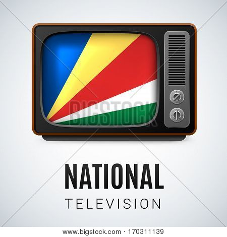 Vintage TV and Flag of Seychelles as Symbol National Television. Tele Receiver with flag colors