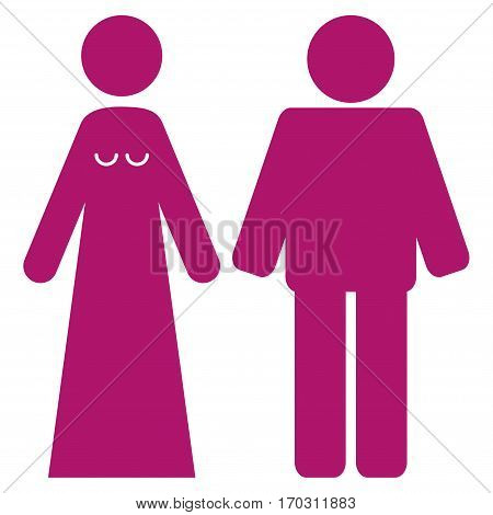 Married Groom And Bribe vector icon symbol. Flat pictogram designed with purple and isolated on a white background.
