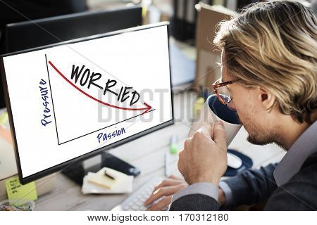 Businessman Working Analysing Worrying Graph Information
