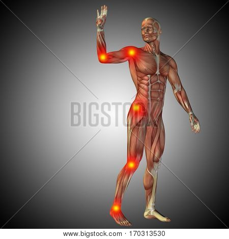 Conceptual 3D illustration of human anatomy body with pain and inflammation, gray gradient background for health, medicine, medical, biology, osteoporosis, arthritis, joint, disease inflammation  ache