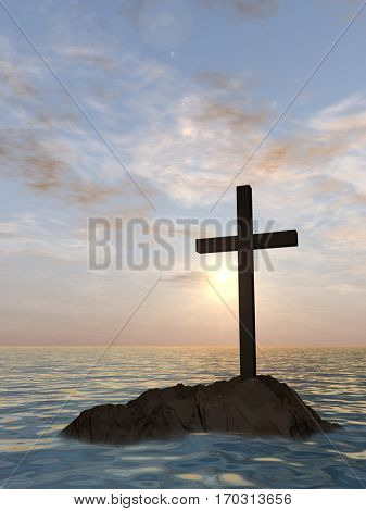 Concept or conceptual 3D illustration christian cross standing on rock in the sea or ocean over beautiful sunset sky, metaphor to faith, religion, religious, belief, Jesus, Christ, spiritual or church