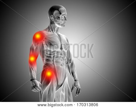 Conceptual 3D illustration human man anatomy upper body health design joint articular pain ache injury on gray background for medical fitness medicine bone care hurt osteoporosis arthritis body
