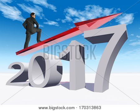 Conceptual 3D illustration human, man or businessman on an red 2017 year symbol with an arrow on blue sky white background for economy growth future finance progress success improvement profit designs