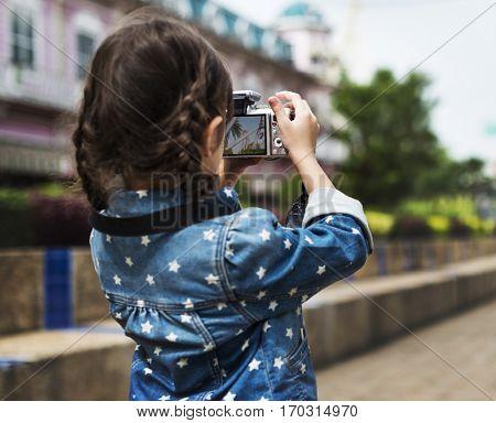 Little Girl Amusement Park Camera Photography