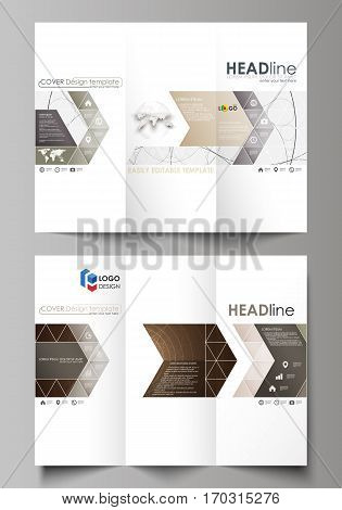 Tri-fold brochure business templates on both sides. Easy editable abstract vector layout in flat design. Alchemical theme. Fractal art background. Sacred geometry. Mysterious relaxation pattern