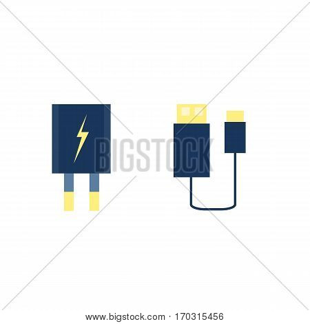 lightning connector. concept of connection, standard input, booster charge, signal, equipment, innovation. flat style trend modern design on background