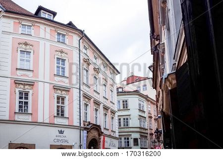 PRAGUE, CZECH REPUBLIC - DEC 23, 2014 : Street view of Traditional old buildings in Prague, Czech Republic. DEC 23, 2014 in PRAGUE