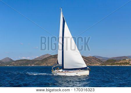 Sailing ship luxury yacht boat in the Aegean Sea.