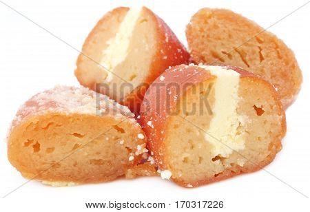 Popular Bangladeshi Sweetmeats Cream Jam over white background