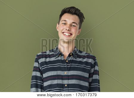 Portrait of Young Adult Caucasian Man Smiling Isolated