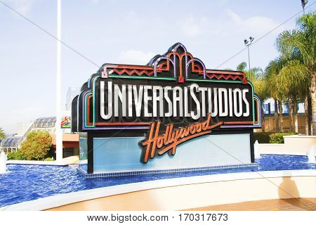 UNIVERSAL CITY, CA - OCT 29, 2015: The Universal Studios Hollywood sign greeting visitors outside the amusement park. It's official marketing headline is