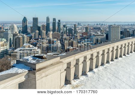 Montreal Skyline In Winter