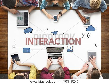 Digital Community Interaction Online Communication Stay Connected Interactive poster