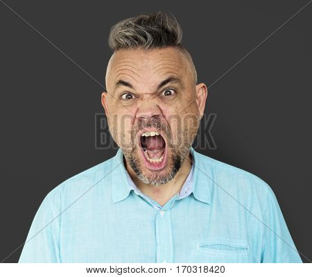 Caucasian Man Shouting Angry Annoyed
