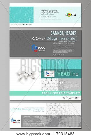 Social media and email headers set, modern banners. Business templates. Easy editable abstract design template, vector layouts in popular sizes. Chemistry pattern, hexagonal molecule structure on blue. Medical, science and technology concept.