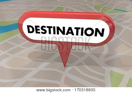 Destination Travel Spot End Location Map Pin 3d Illustration
