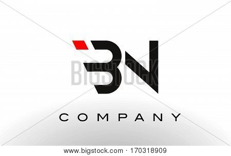 BN Logo. Letter Design Vector with Red and Black Colors.