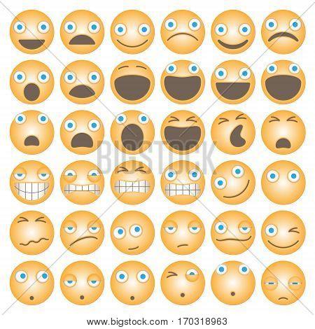 3D Funny Cartoon Emoticons. Unique Thirty Six Pieces Set